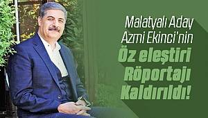 Malatyalı Aday Azmi Ekinci'nin Röportajı Kaldırıldı